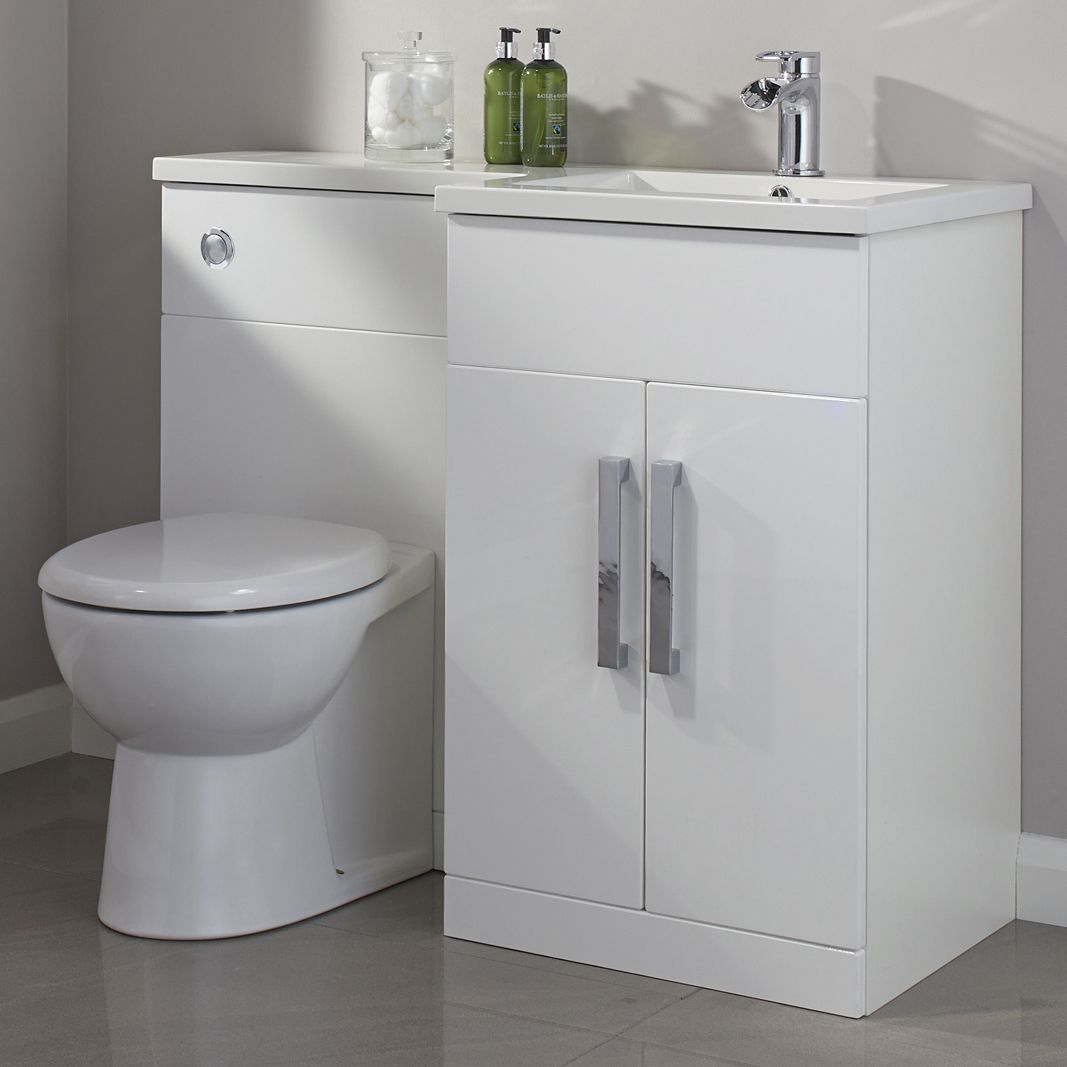 Cooke lewis ardesio gloss white rh vanity toilet pack departments diy at b q John lewis bathroom design and fitting