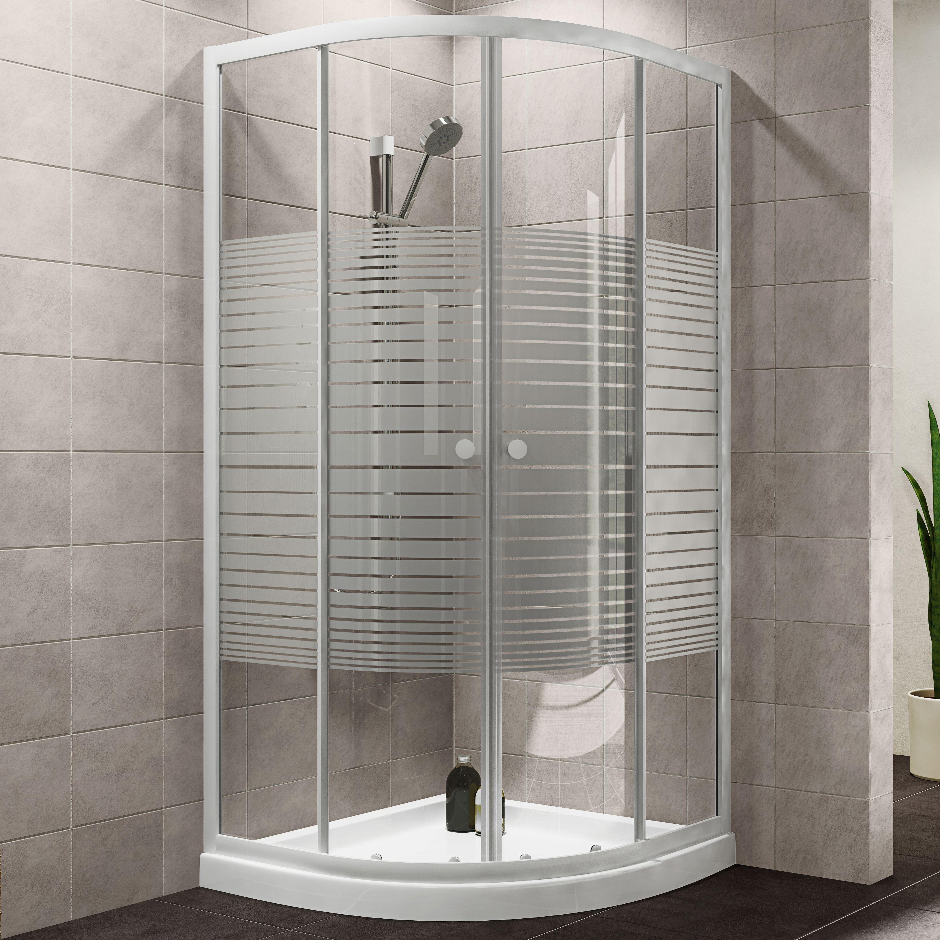 shower cubicles. Plumbsure Quadrant Shower Enclosure With Double Sliding Doors \u0026 Striped Glass (W)800mm (D)800mm | Departments DIY At B\u0026Q Cubicles
