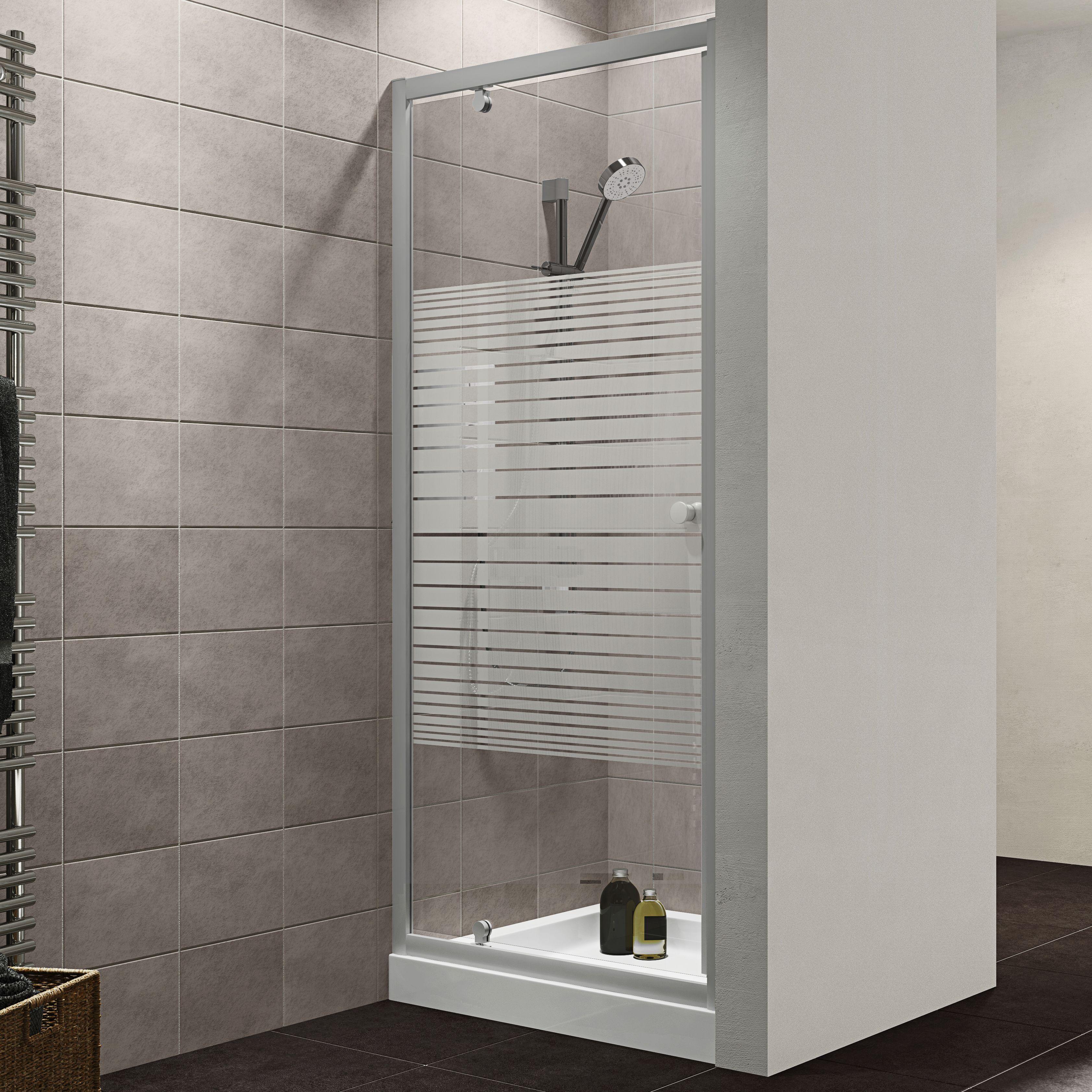Plumbsure Shower Door With Pivot Door Striped Glass W 760mm Departments Diy At B Q