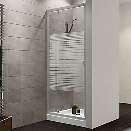 Plumbsure Shower door with Pivot door & Striped