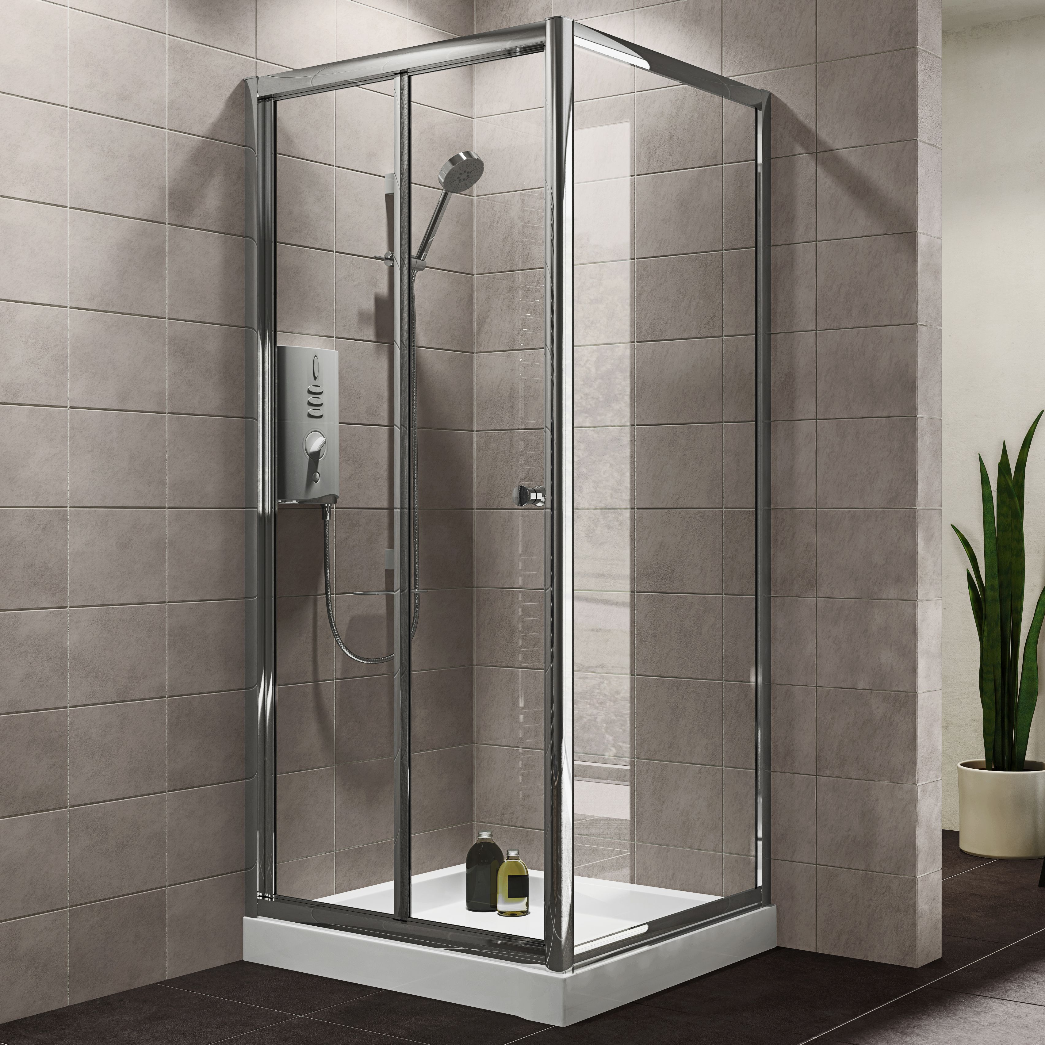 Plumbsure Square Shower enclosure with Bi-fold door (W)800mm (D ...