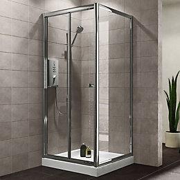 Plumbsure Square Shower Enclosure with Bi-Fold Door (W)800mm
