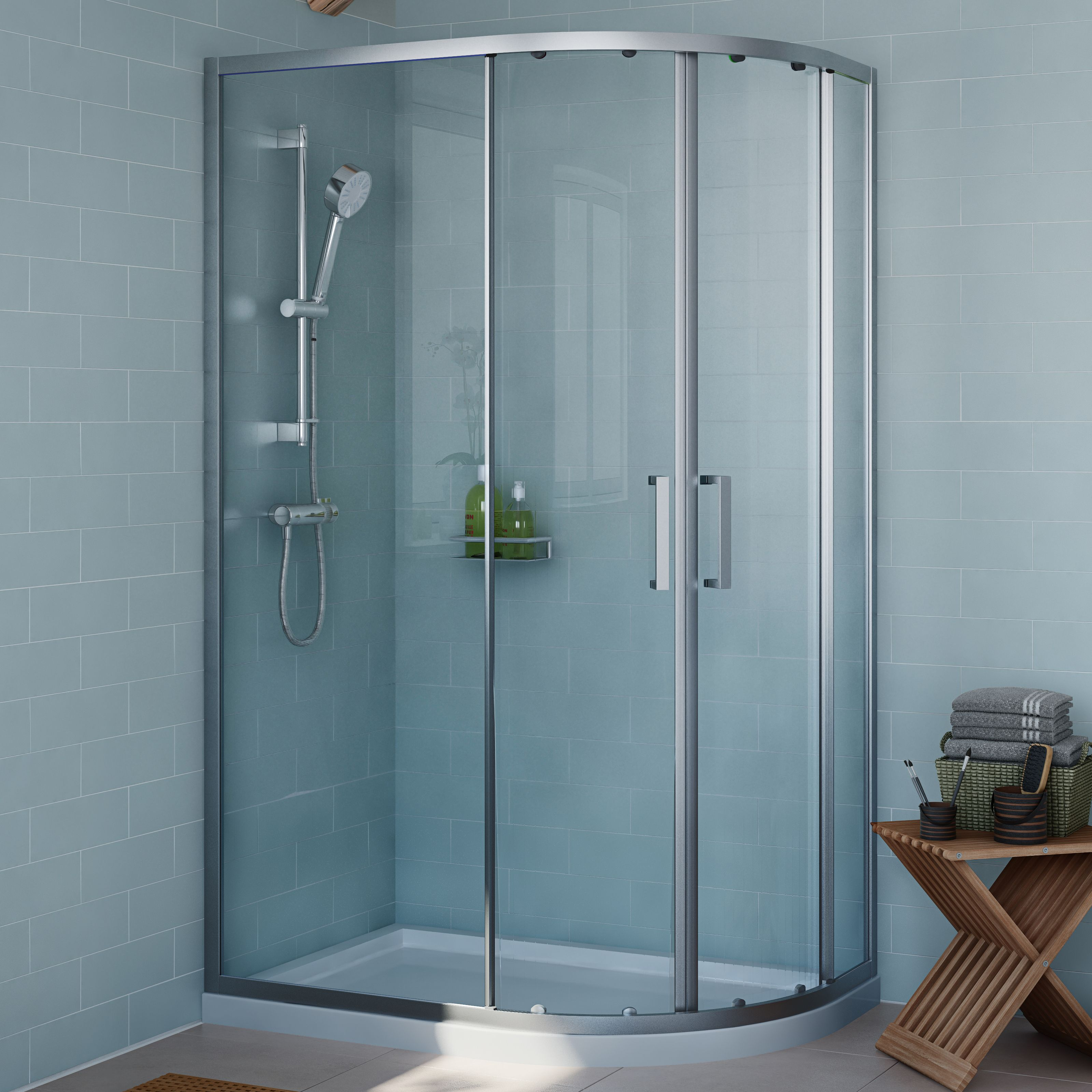 Cooke & Lewis Exuberance Offset quadrant Shower enclosure with ...