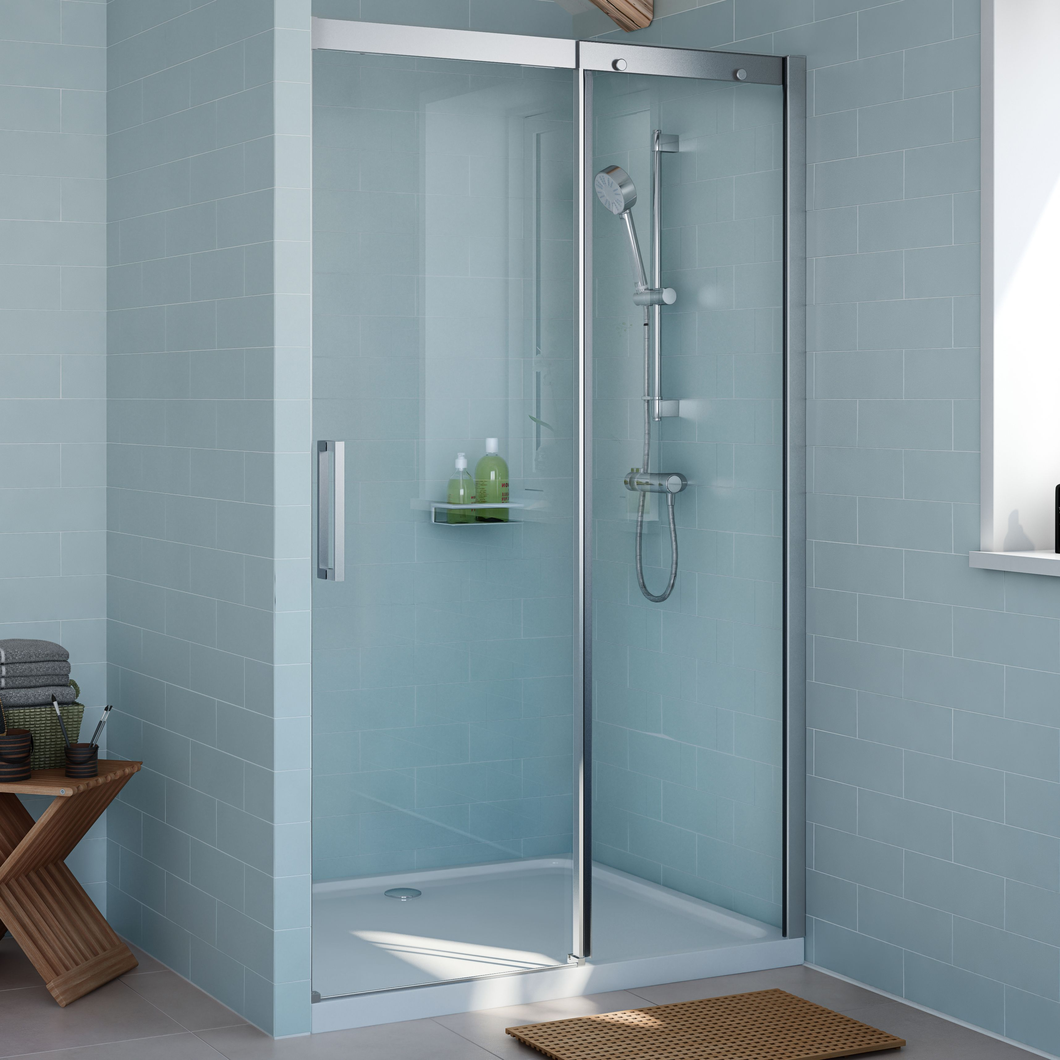 Cooke & Lewis Carmony Shower door with Single sliding soft close ...