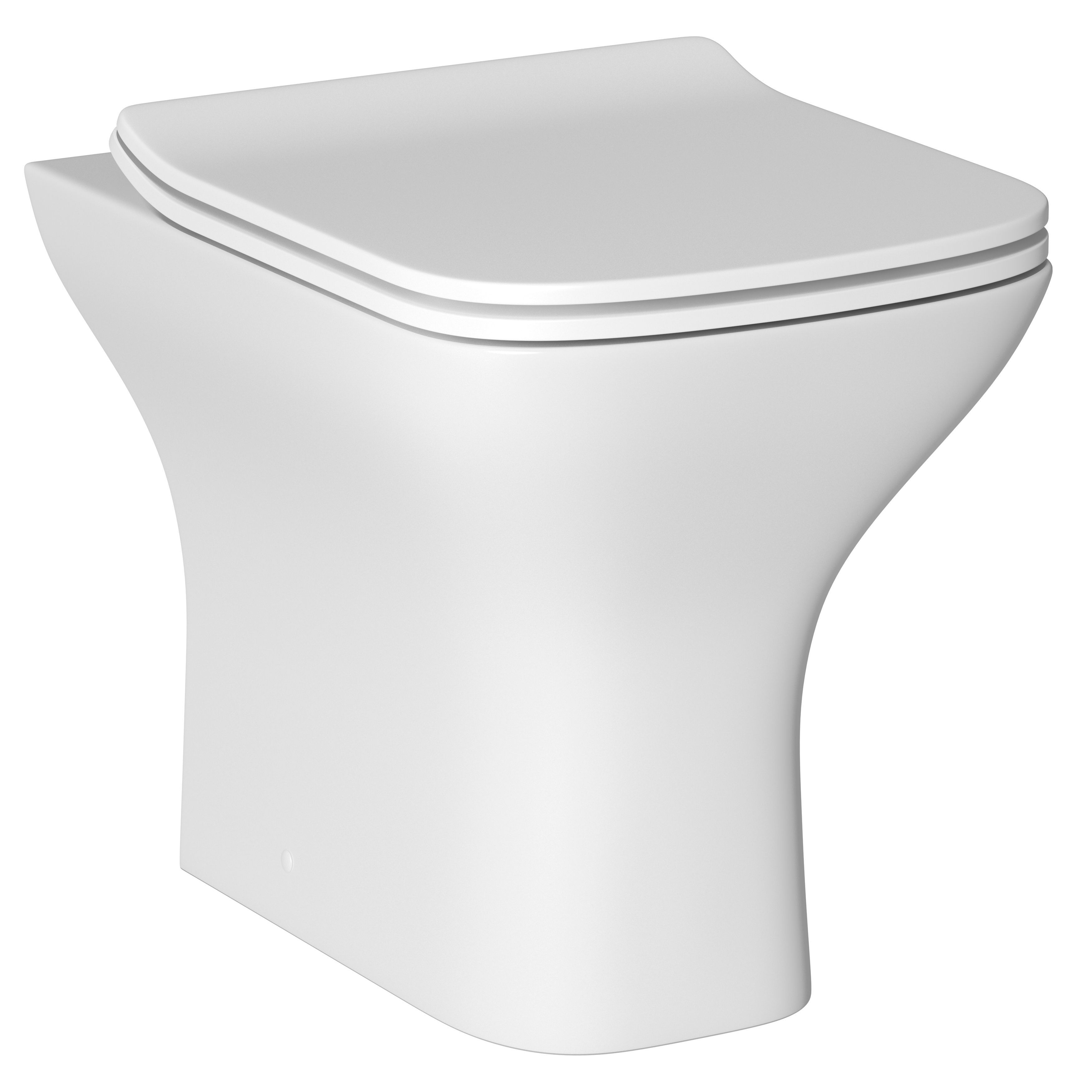 Cooke Lewis Lanzo Contemporary Back To Wall Toilet With Soft Close Seat Departments Diy At B Q