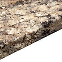 38mm B&Q Carnival granite Grey Marble effect Round edge Worktop (L)3.6m (D)600mm