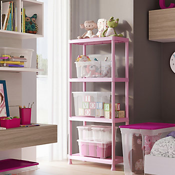 Pink shelving unit in a bedroom