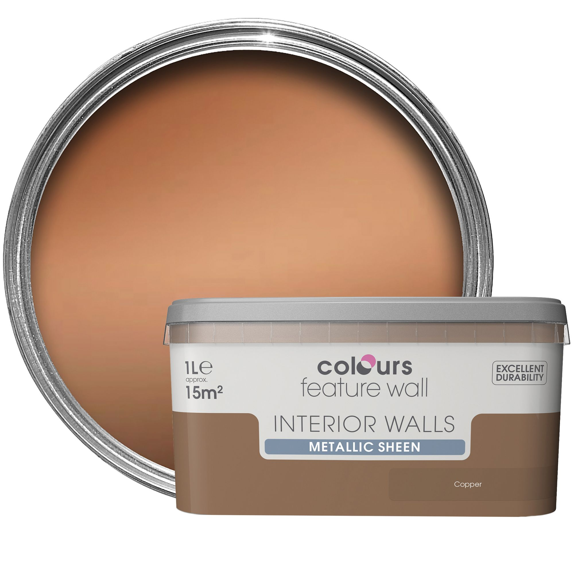 Colours Feature Wall Copper Effect Metallic Emulsion Paint 1l