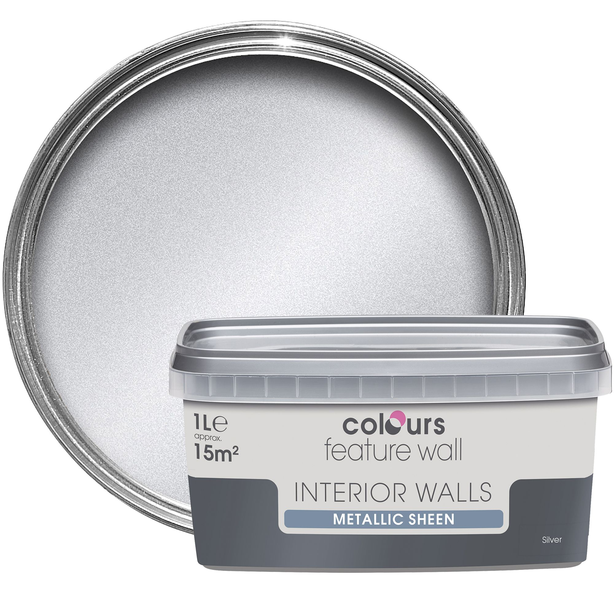 Colours Feature Wall Silver Effect Emulsion Paint 1l Departments Diy At B Q