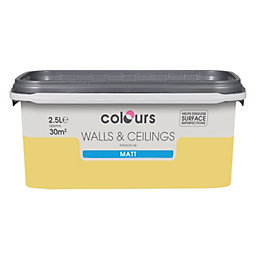 Colours Standard Buttercup Matt Emulsion Paint 2.5L