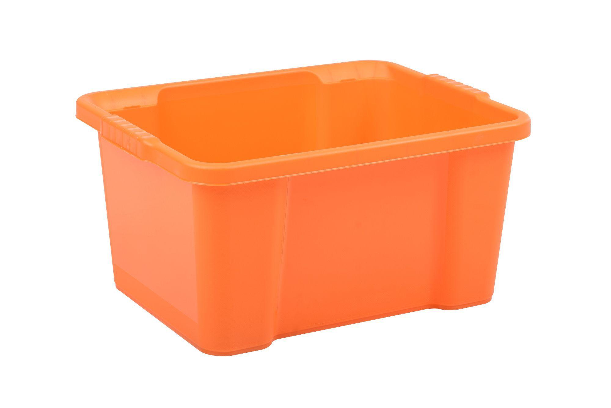 storage boxes durable orange 30l plastic storage box departments diy at b q. Black Bedroom Furniture Sets. Home Design Ideas