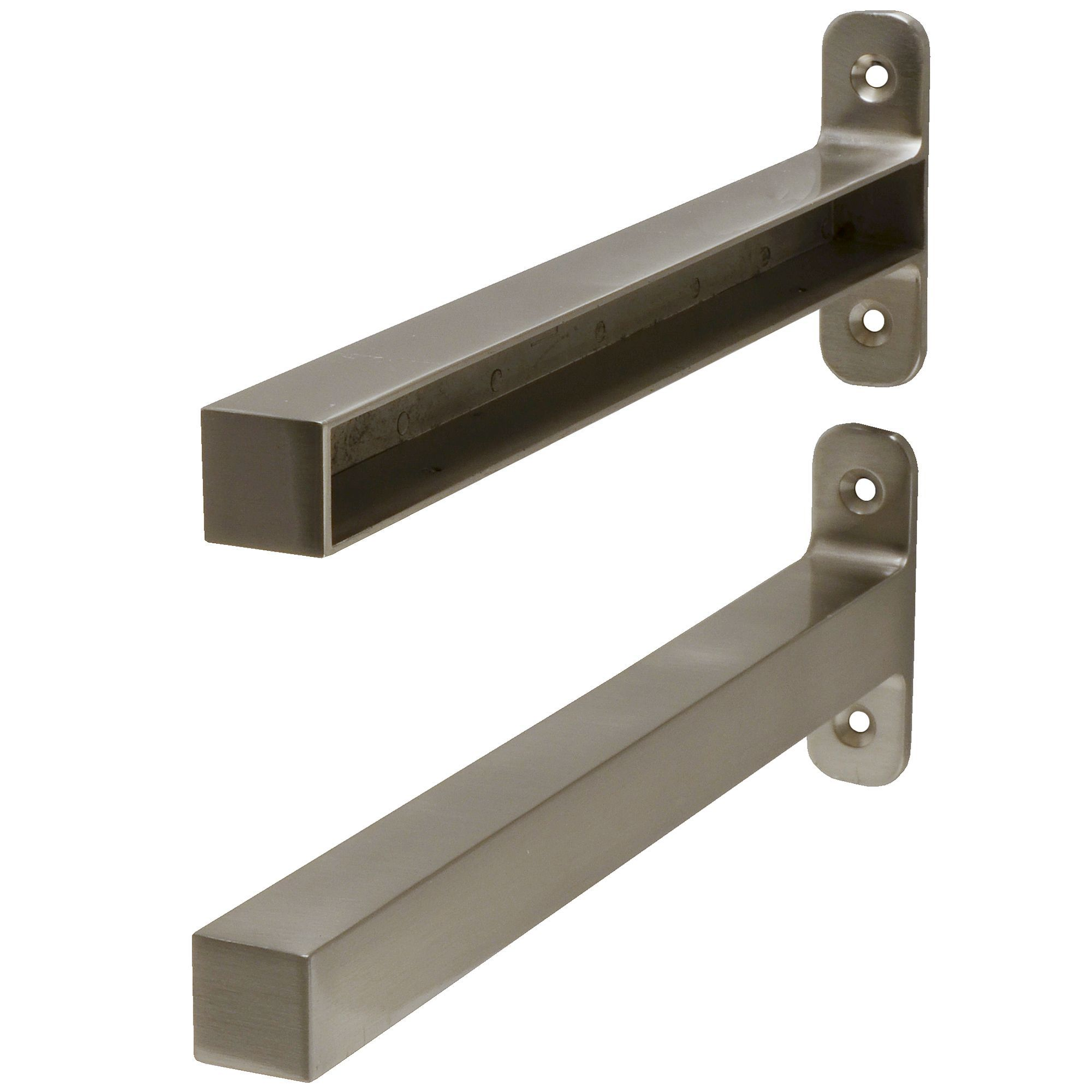 Form Brackets Brushed Aluminium Effect Steel Shelf Bracket