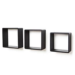 Black Matt Cube Shelf (L)300mm (D)120mm, Pack of