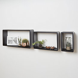 Black Matt Rectangle shelf (L)600mm (D)300mm, Pack of