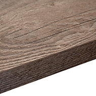 38mm Mountain timber Wood effect Square edge Laminate Left-hand curved worktop (L)1.8m (D)600mm