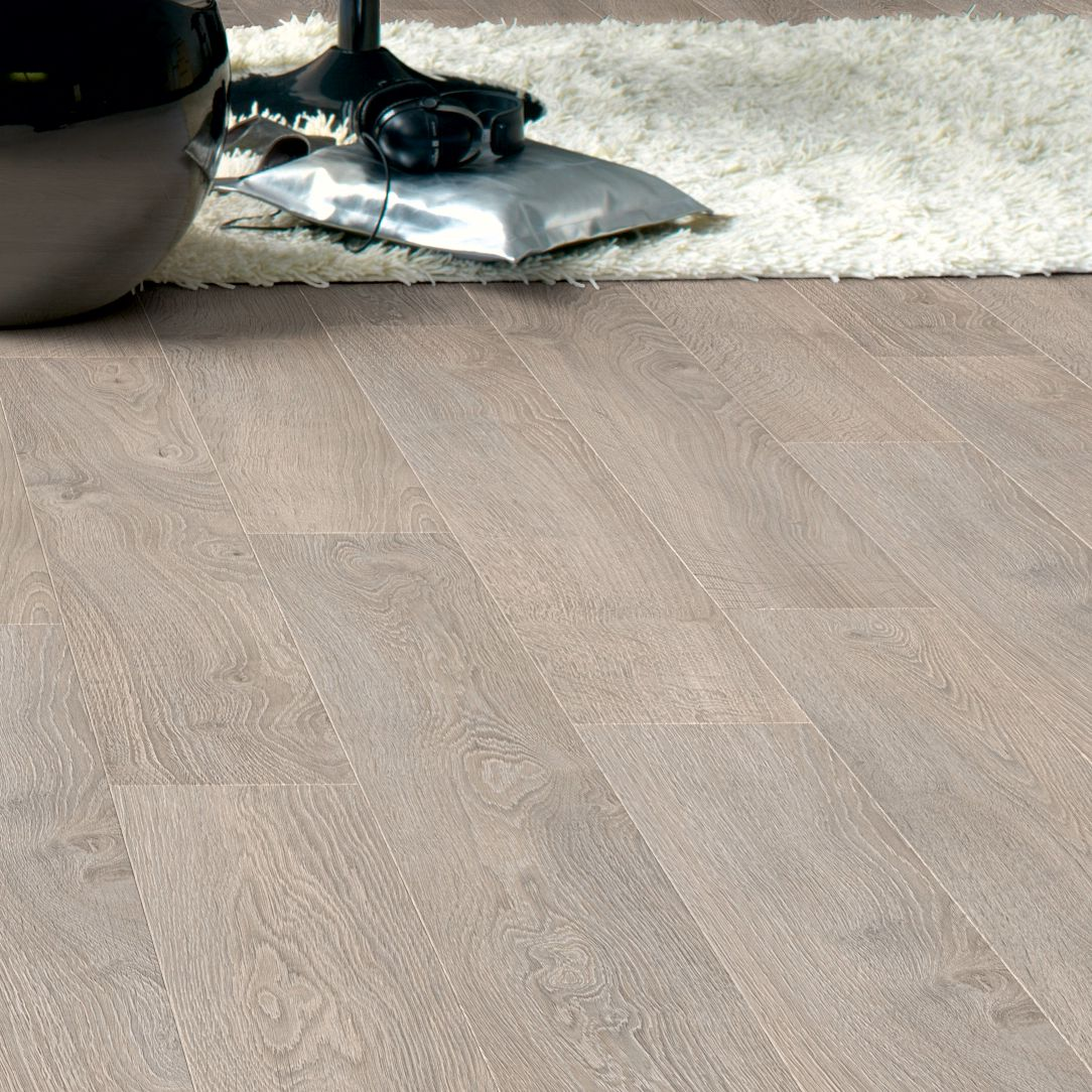 Quickstep calando light grey oak effect laminate flooring for B q living room lights