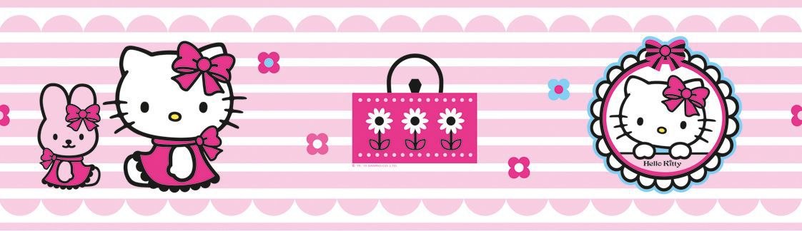 Decofun hello kitty pink white border departments for Bordo greca adesivo