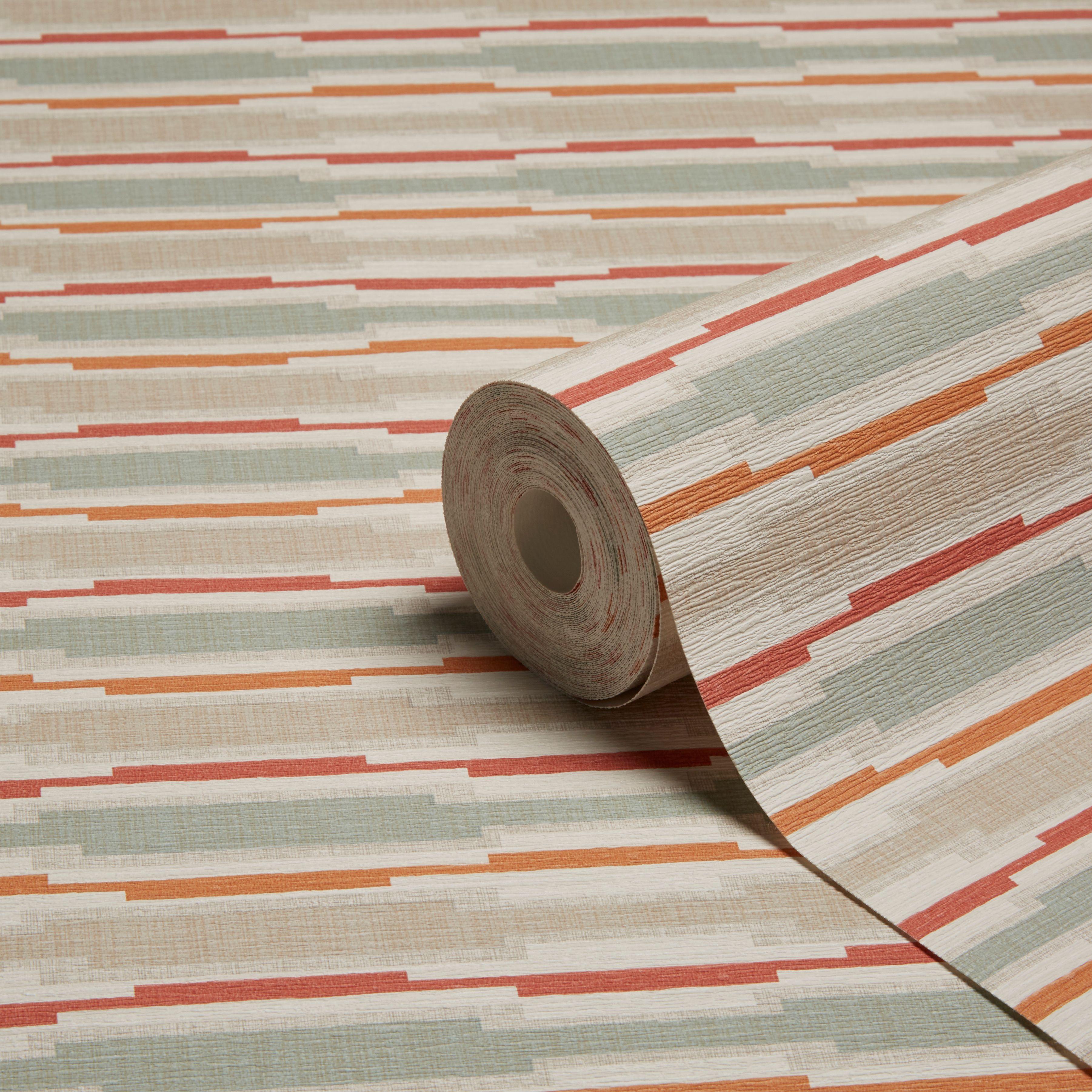 Grandeco Linear Orange Geometric Stripe Wallpaper