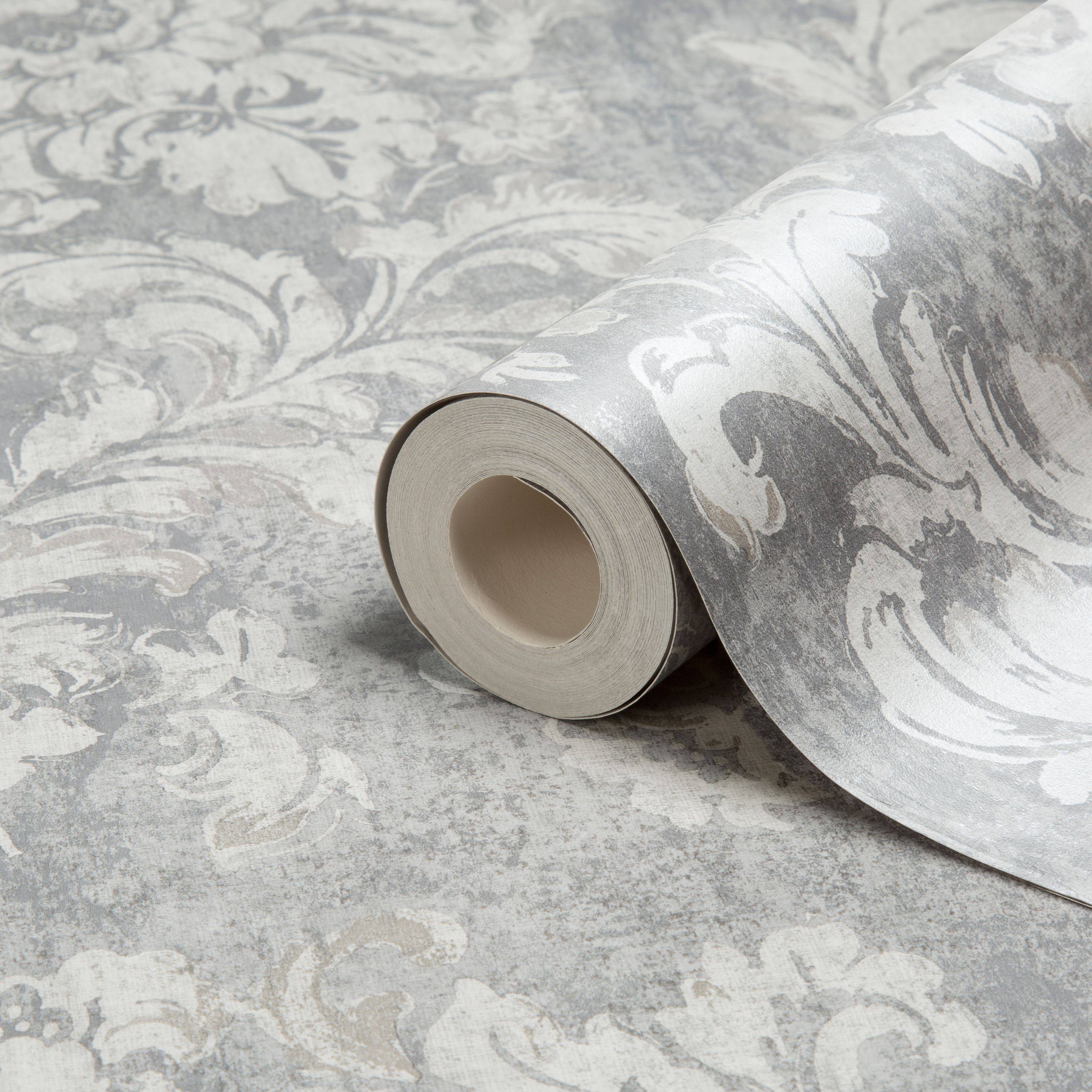 Kitchen Wallpaper At B Q: Gold Decadent Trail Light Grey Damask Metallic Wallpaper