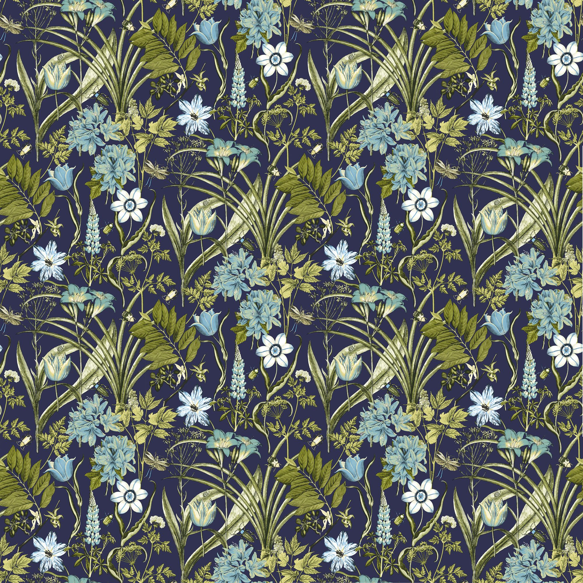 Ideco Home Flora amp Fauna Blue Green Foral Wallpaper