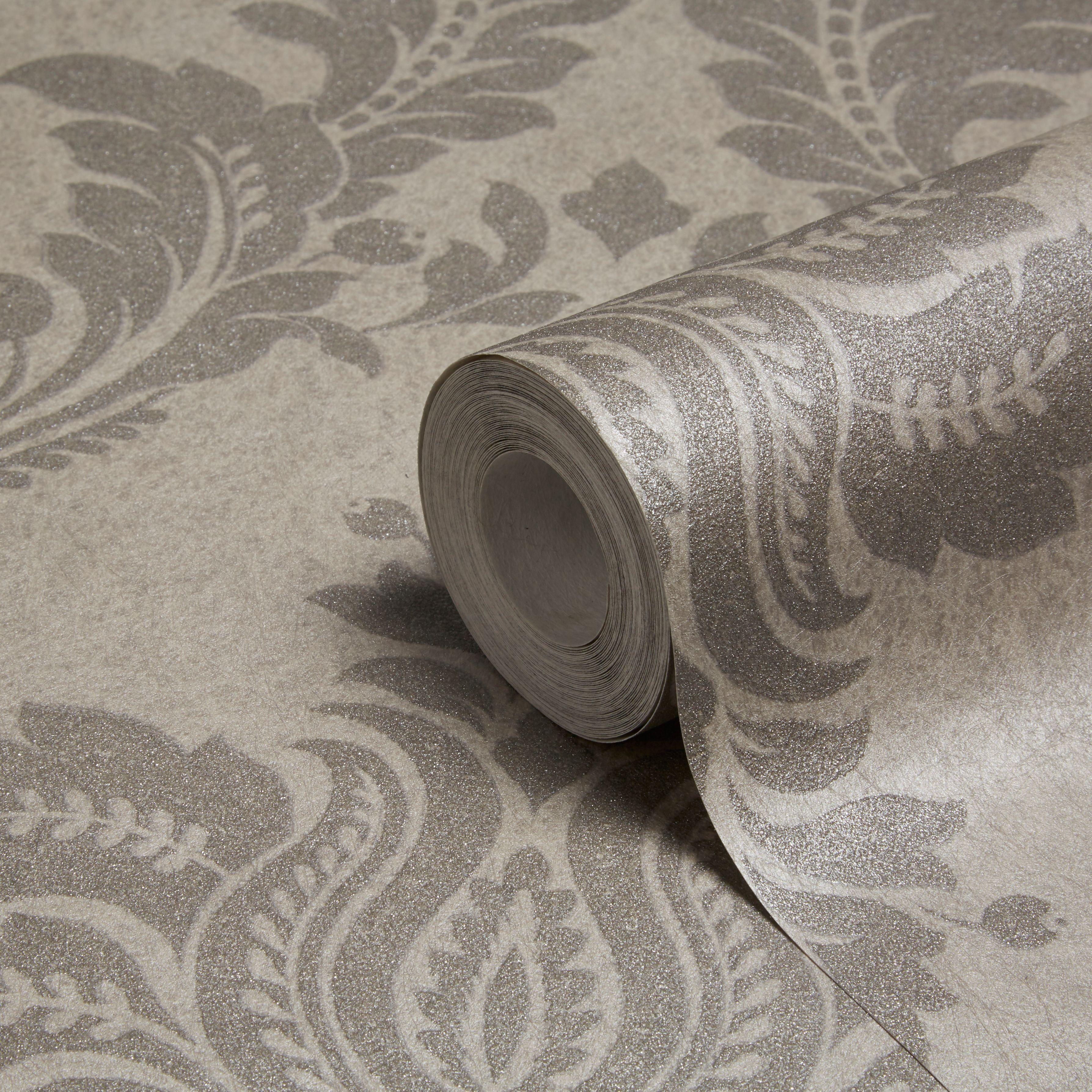grandeco majestic grey damask glitter effect wallpaper. Black Bedroom Furniture Sets. Home Design Ideas