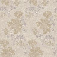 Wall Fashion Persian Beige & cream Floral Metallic Wallpaper