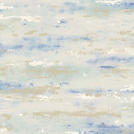 Wall Fashion Painterly Blue Texture Metallic Wallpaper