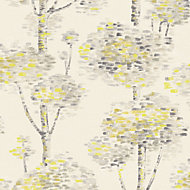Wall Fashion Painterly Grey & yellow Tree Wallpaper