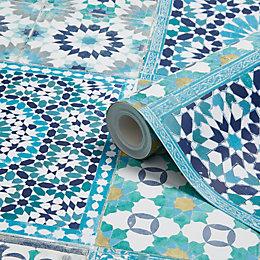 Grandeco Sapphira Blue Mosaic tile Wallpaper