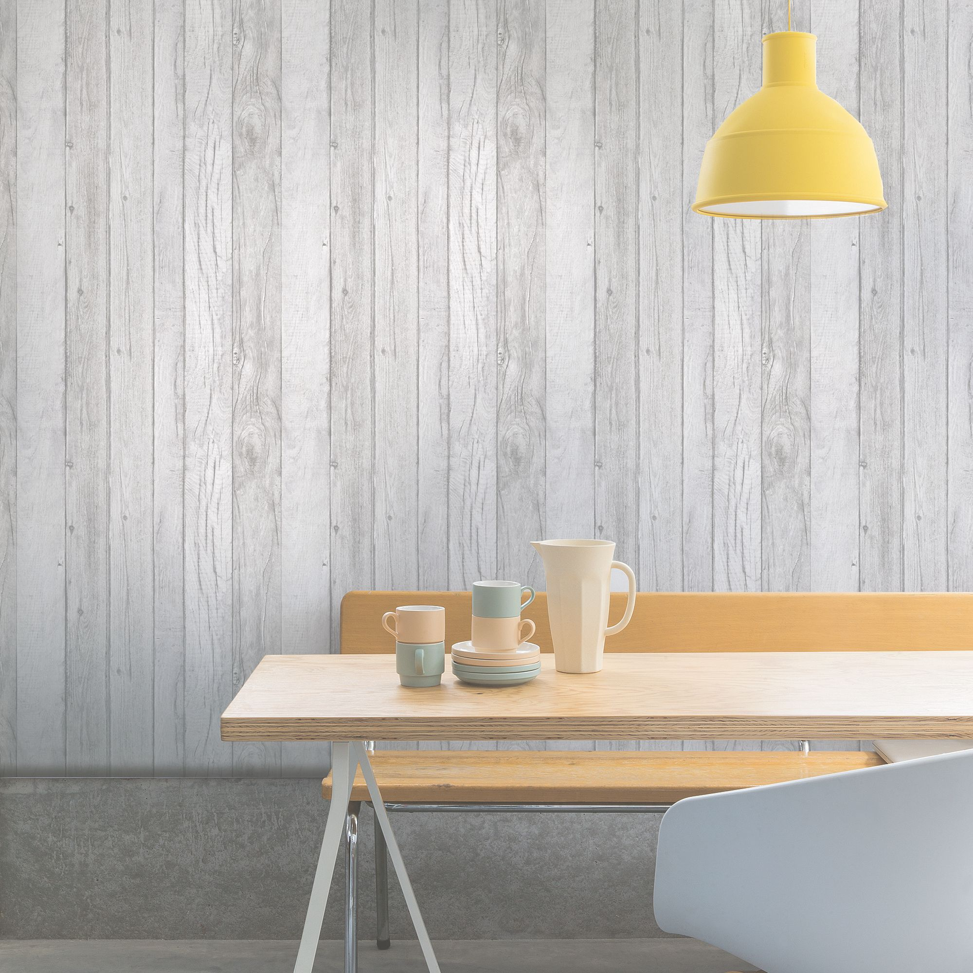 Ideco home grey wood panel wallpaper departments diy for Kitchen colors with white cabinets with rouleaux papier peint