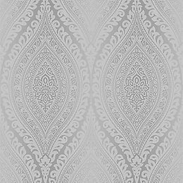 Gold Kismet Silver Damask Glitter Effect Wallpaper