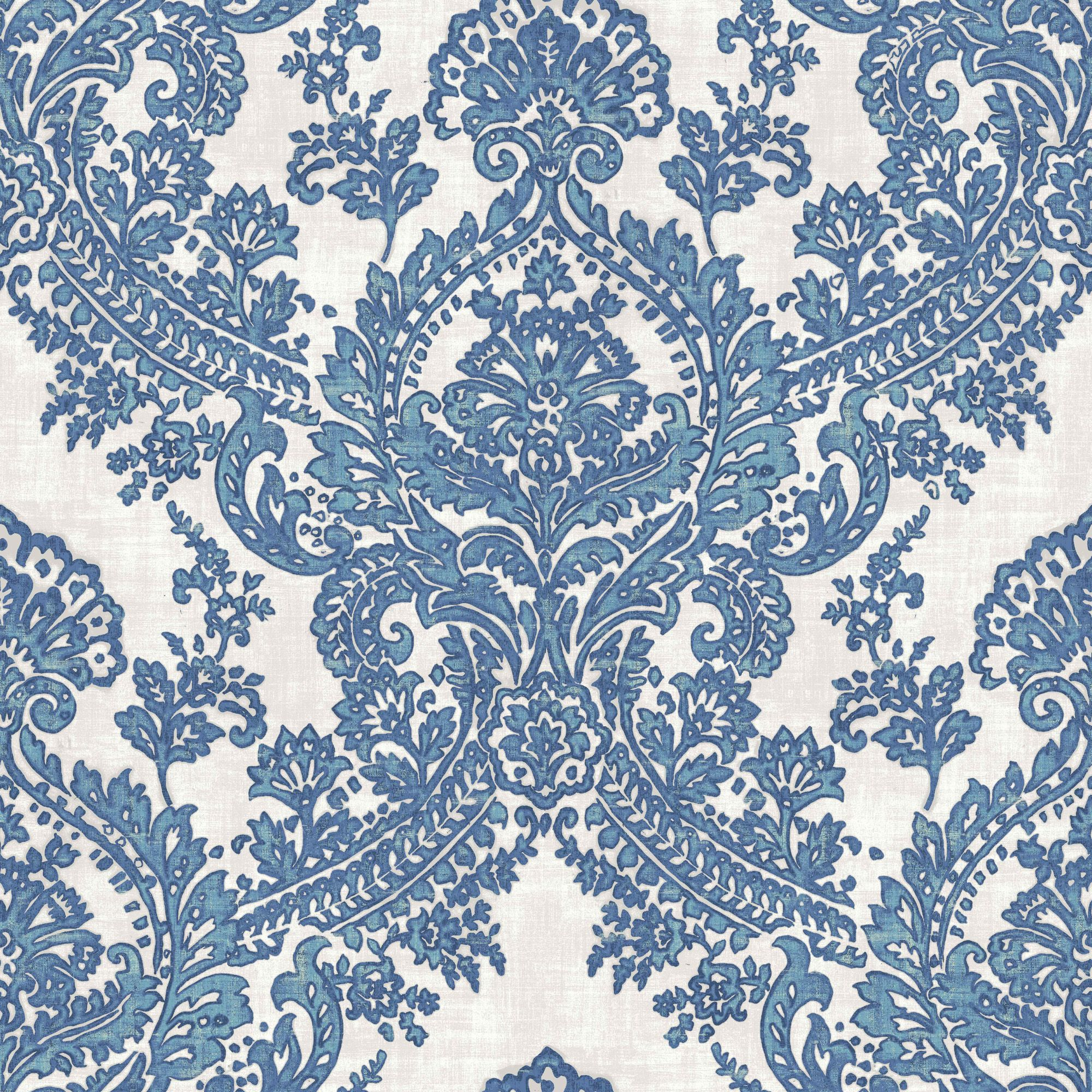 Batik Blue Amp White Damask Glitter Highlight Wallpaper