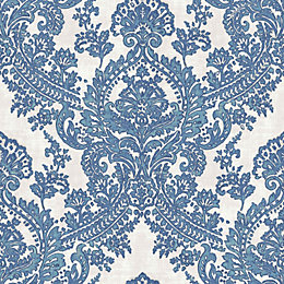 Batik Blue & white Damask Glitter highlight Wallpaper