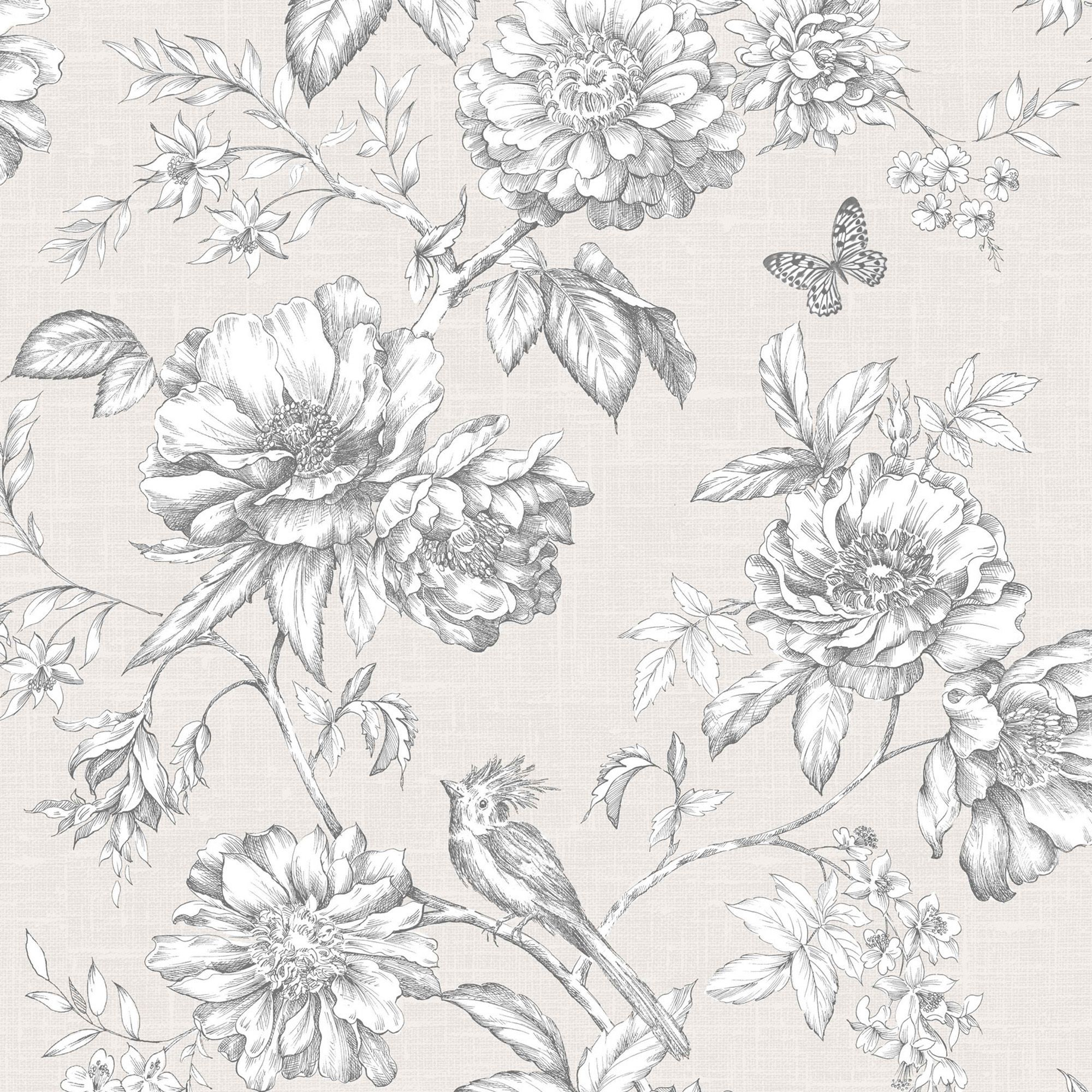 Menagerie Cream Amp White Floral Wallpaper Departments