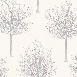 Bloomsbury Cream & Lilac Nature Glitter Highlight Wallpaper