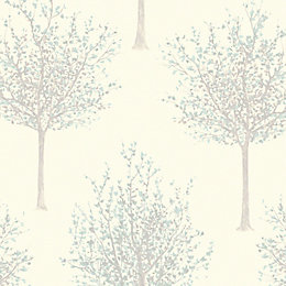 Bloomsbury Cream & green Tree Glitter Wallpaper