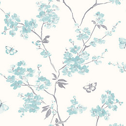 Cream & teal Blossom Wallpaper