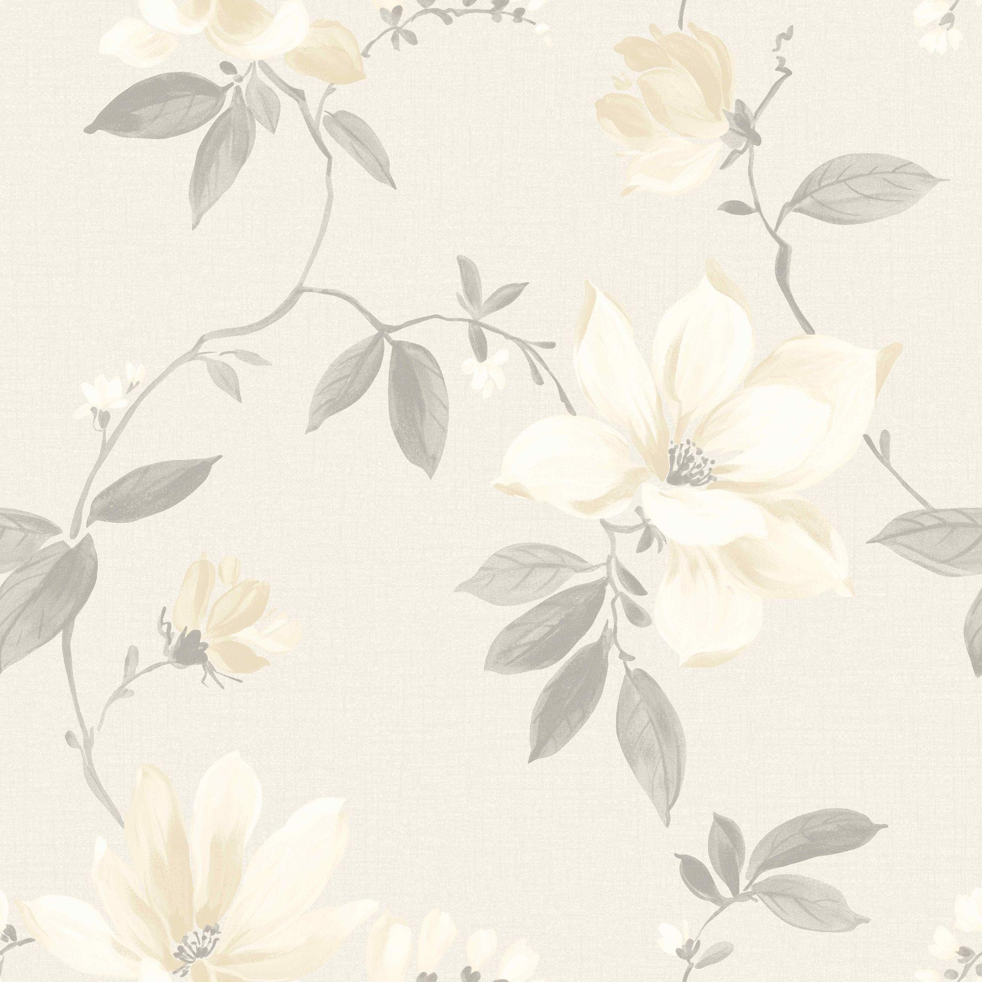 Magnolia Cream Floral Wallpaper Departments Diy At B Amp Q