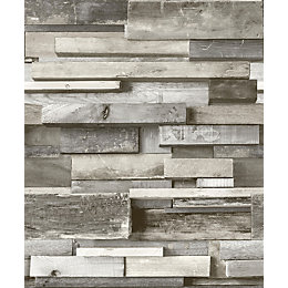 Gold Horizontal Wood Grey Faux Wall Wallpaper