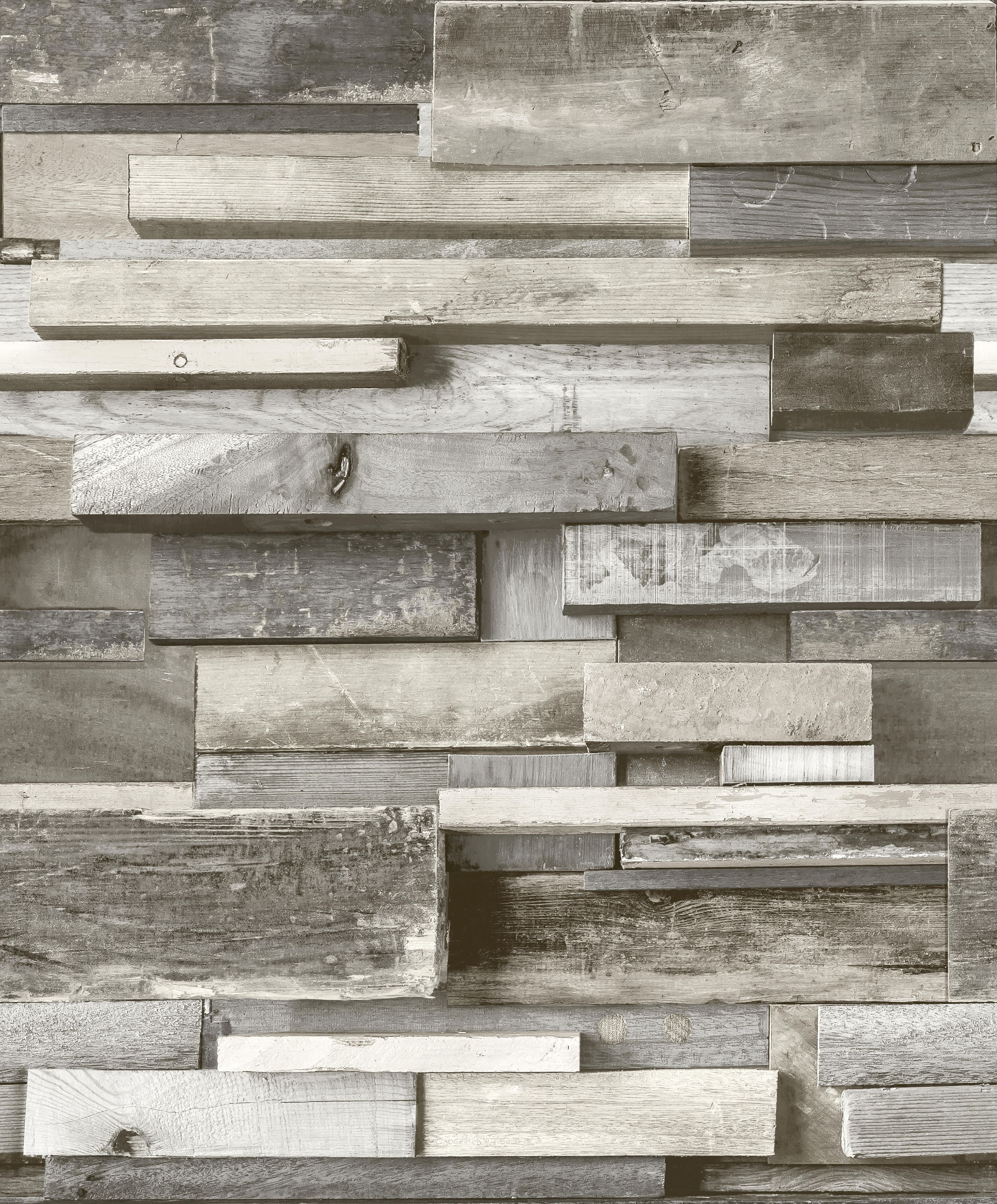 Gold Horizontal Wood Grey Faux Wall Embossed Wallpaper