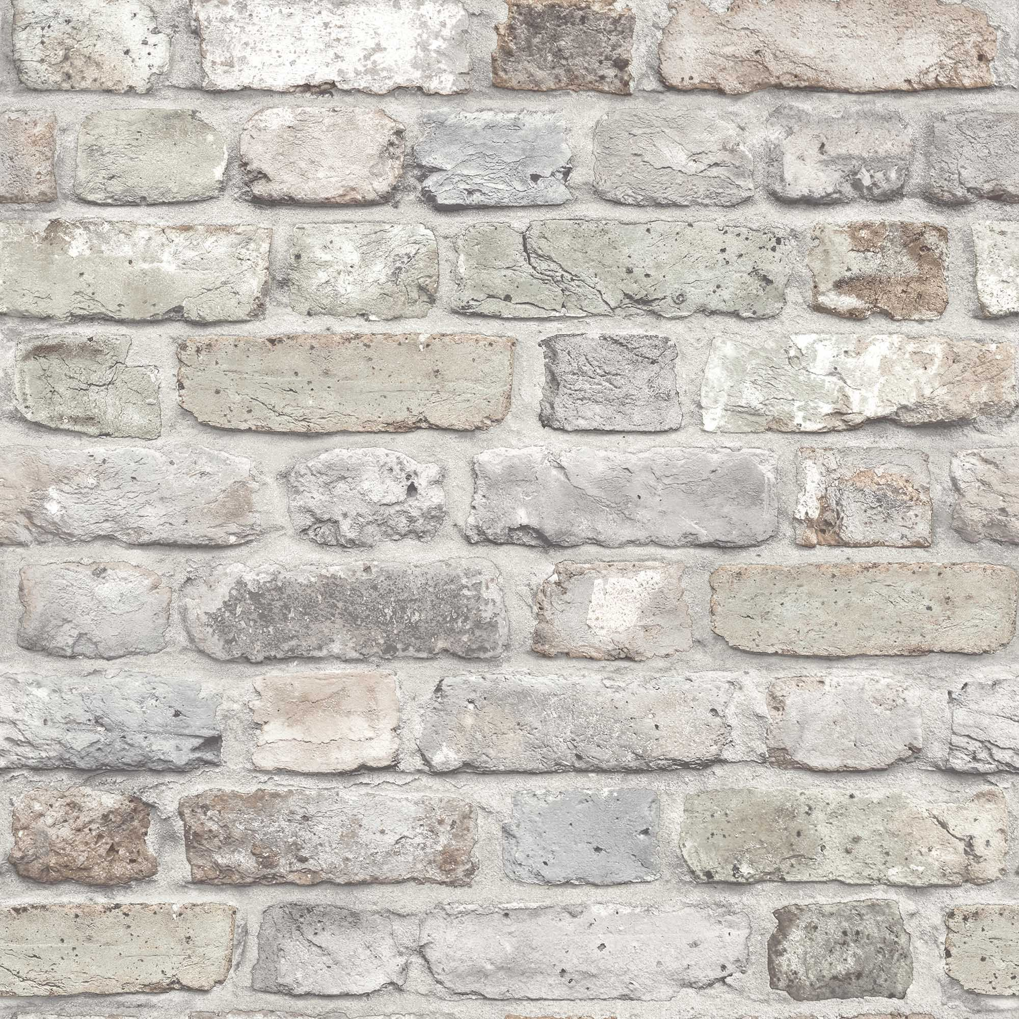Gold pink rustic brick matt wallpaper departments diy for Graue tapete