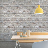 Gold Pink Rustic brick Matt Wallpaper