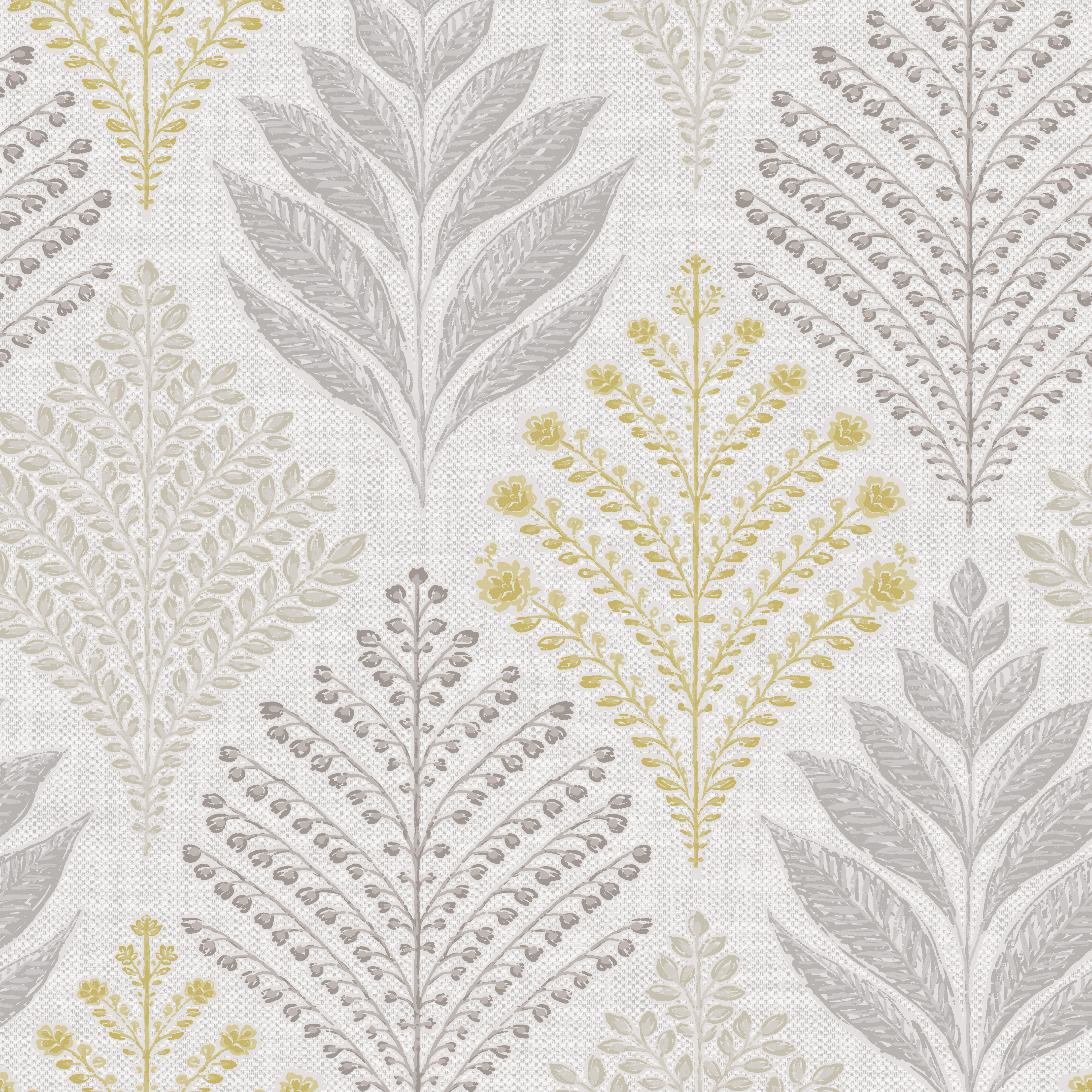 Gold Rowan Grey & yellow Leaf Glitter Wallpaper ...