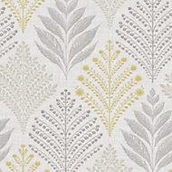 Gold Rowan Grey & yellow Leaf Glitter Wallpaper
