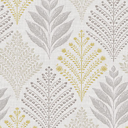 Gold Rowan Grey & yellow Leaf Glitter Wallpaper