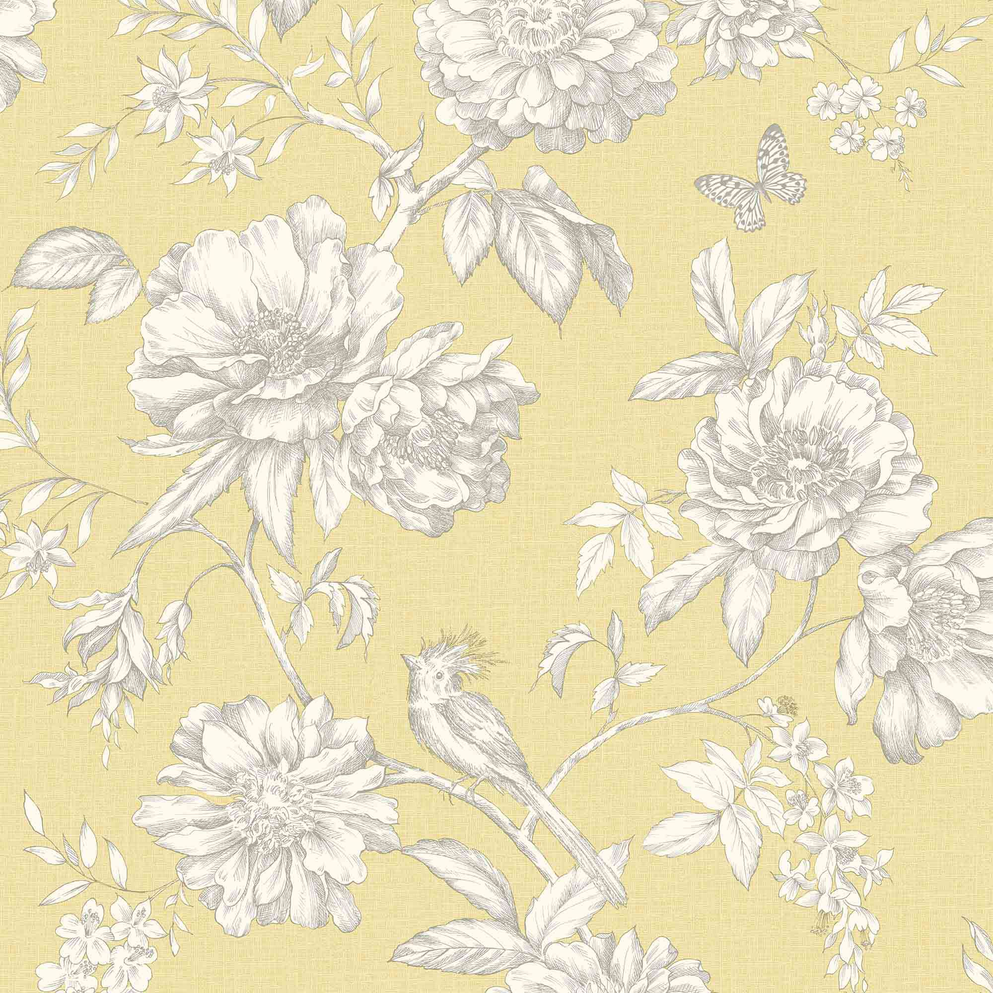 Gold Menagerie Yellow Floral Mica Wallpaper Departments