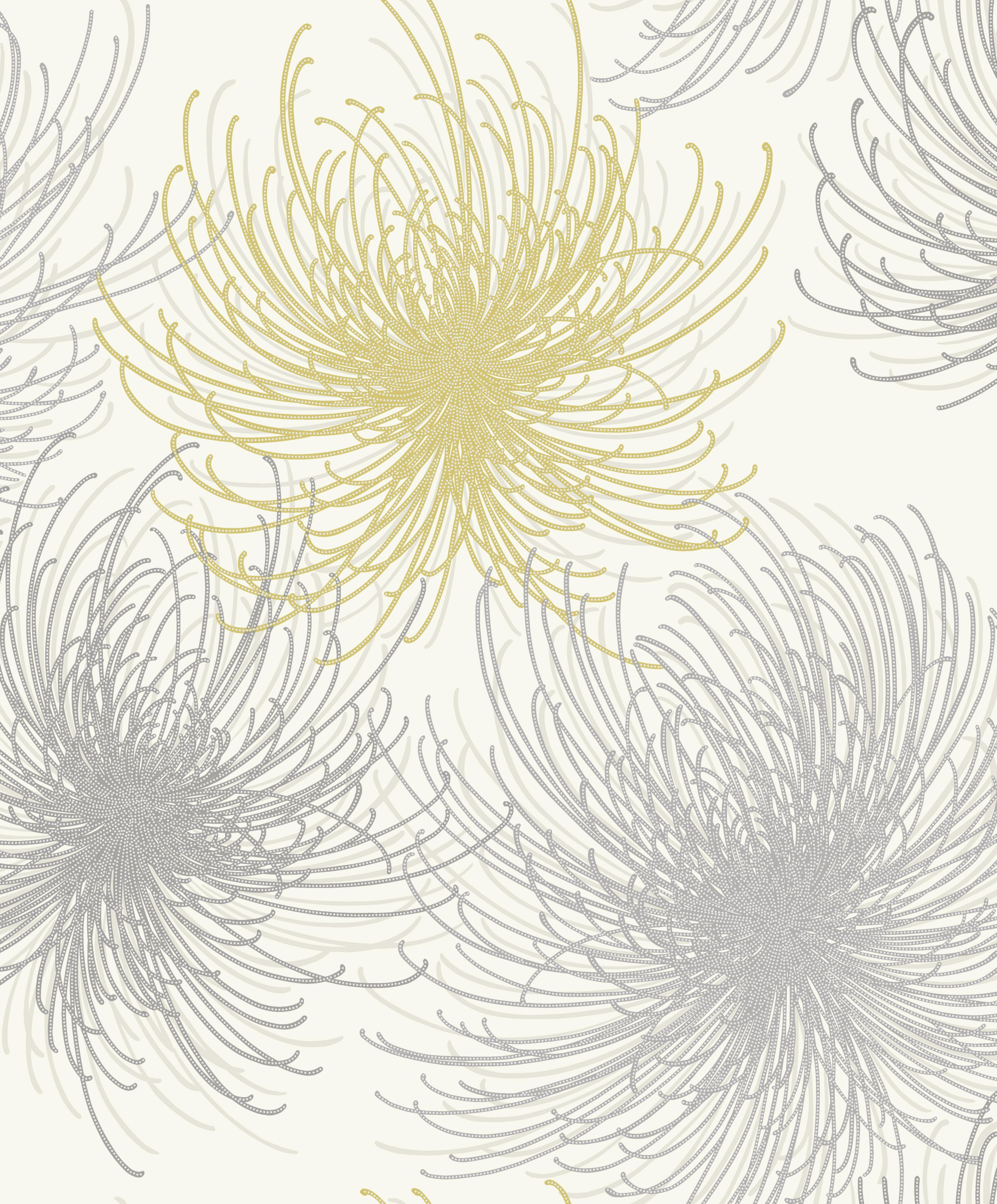 Gold Cosmo Yellow & Grey Floral Glitter Effect Wallpaper