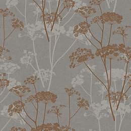 Gold Ophelia Copper Organic Glitter Effect Wallpaper