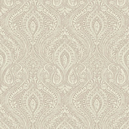 Gold Anoushka Beige Damask Mica Highlight Wallpaper
