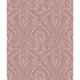 Gold Anoushka Red Damask Mica highlight Wallpaper